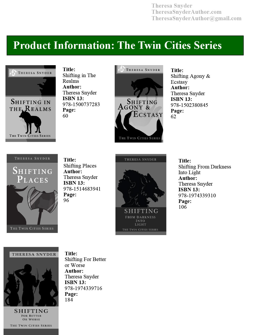 Product info: The Twin Cities Series