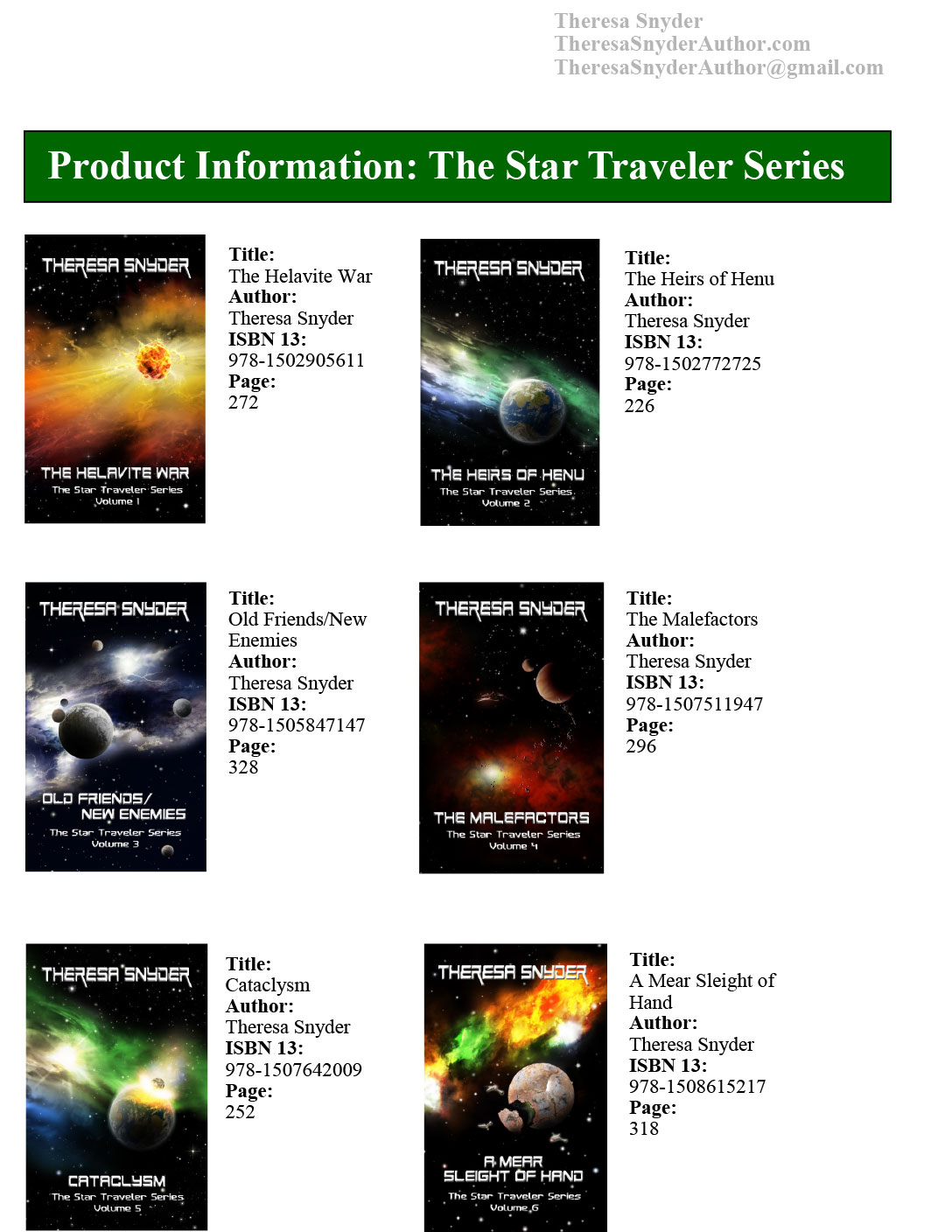 Product info: The Star Traveler Series